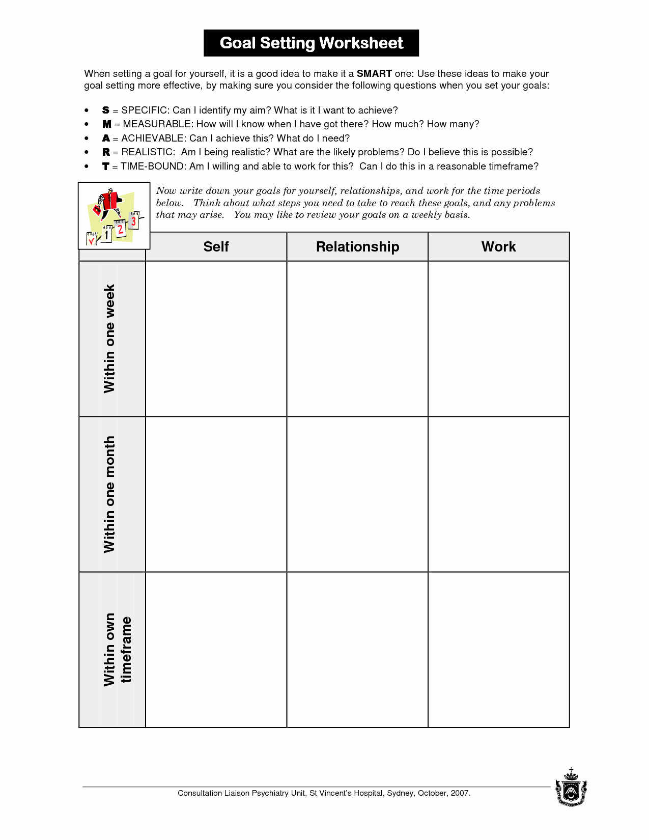 Goal Setting Worksheet Template New 13 Best Of Setting Short Term Goals Worksheet