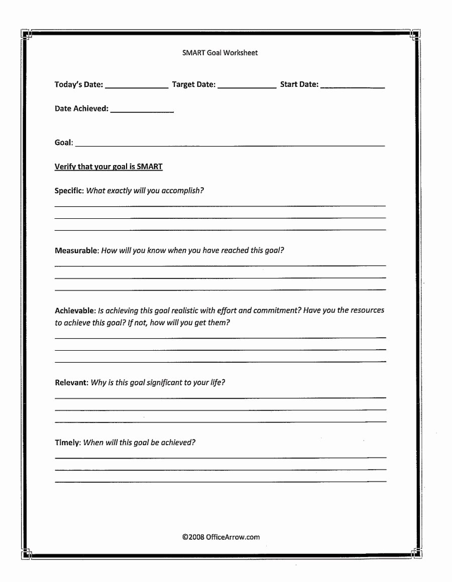 Goal Setting Worksheet Template Unique 48 Smart Goals Templates Examples & Worksheets Template Lab