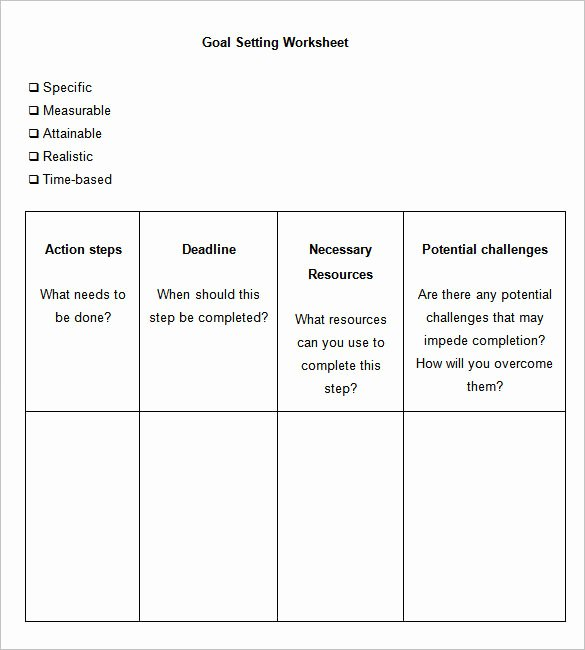 Goal Setting Worksheet Template Unique 8 Goal Setting Worksheet Templates – Free Word Pdf