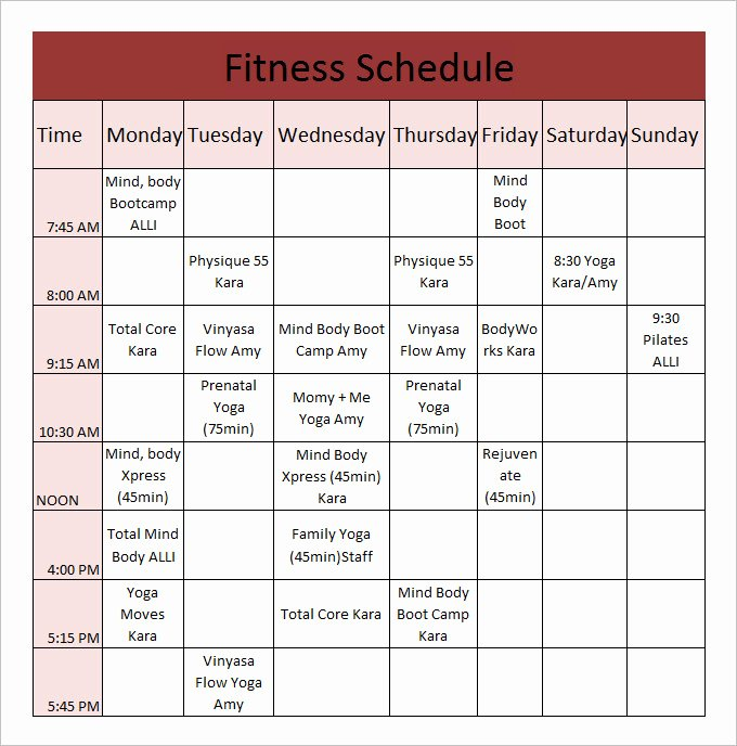 Golf Practice Schedule Template Best Of Fitness Schedule Template 12 Free Excel Pdf Documents