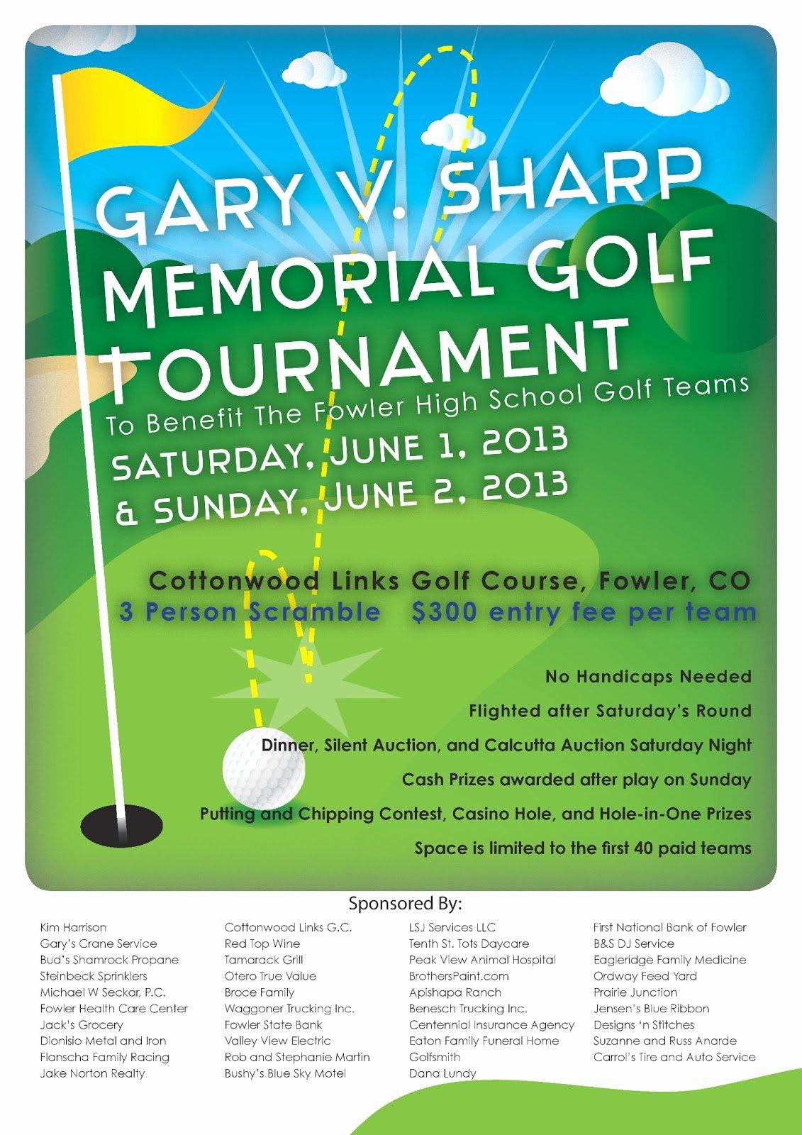 Golf Scramble Flyer Template Fresh Gary V Sharp Memorial Golf tournament tournament Flyer