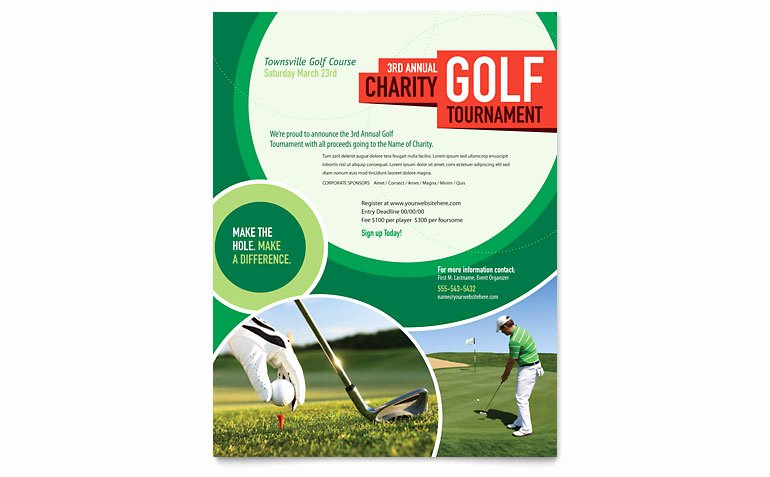Golf Scramble Flyer Template Luxury Golf tournament Flyer Template Word & Publisher