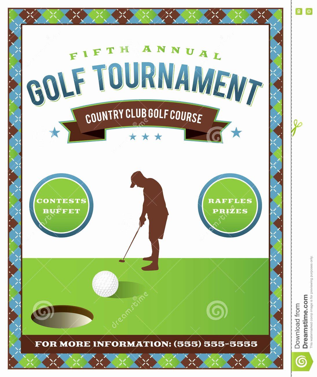 Golf Scramble Flyer Template Unique Golf tournament Flyer Template Stock Vector Illustration