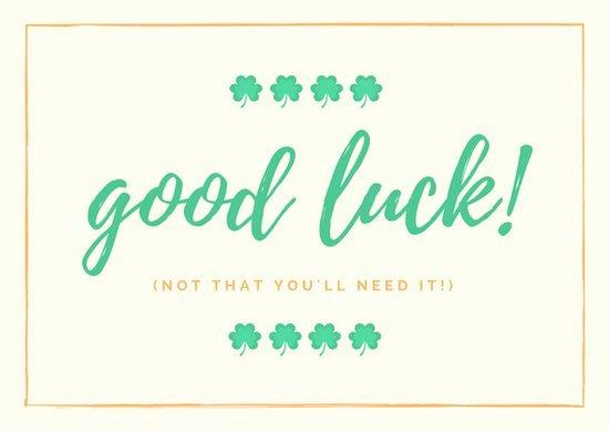Good Luck Card Template Elegant Cream Minimalist Icon Good Luck Card Templates by Canva