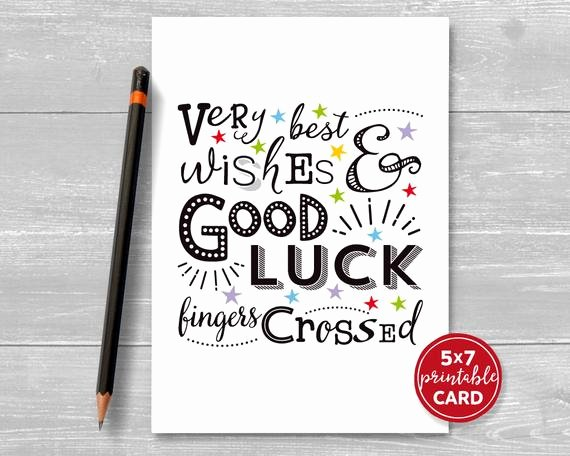 Good Luck Card Template Elegant Printable Good Luck Card Very Best Wishes & Good Luck