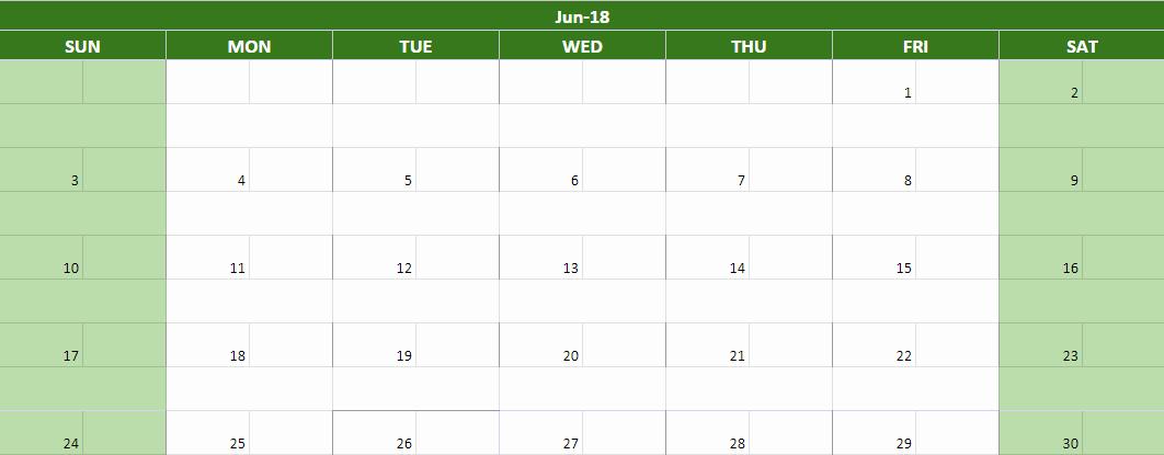 Google Sheets Schedule Template Elegant June 2018 Google Sheets Calendars Templates
