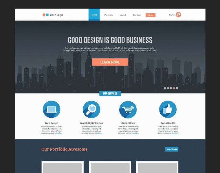 Google Web Page Template Luxury Flat Business Website Template Free Psd