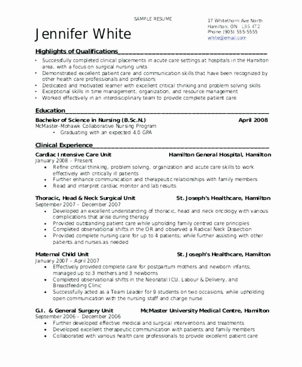 Graduate Nurse Resume Template Awesome Graduate Nurse Resume Examples New Graduate Nursing Resume