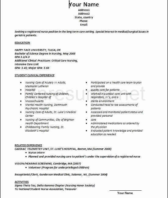 Graduate Nurse Resume Template Awesome Lpn Resume Sample New Graduate Best Resume Collection