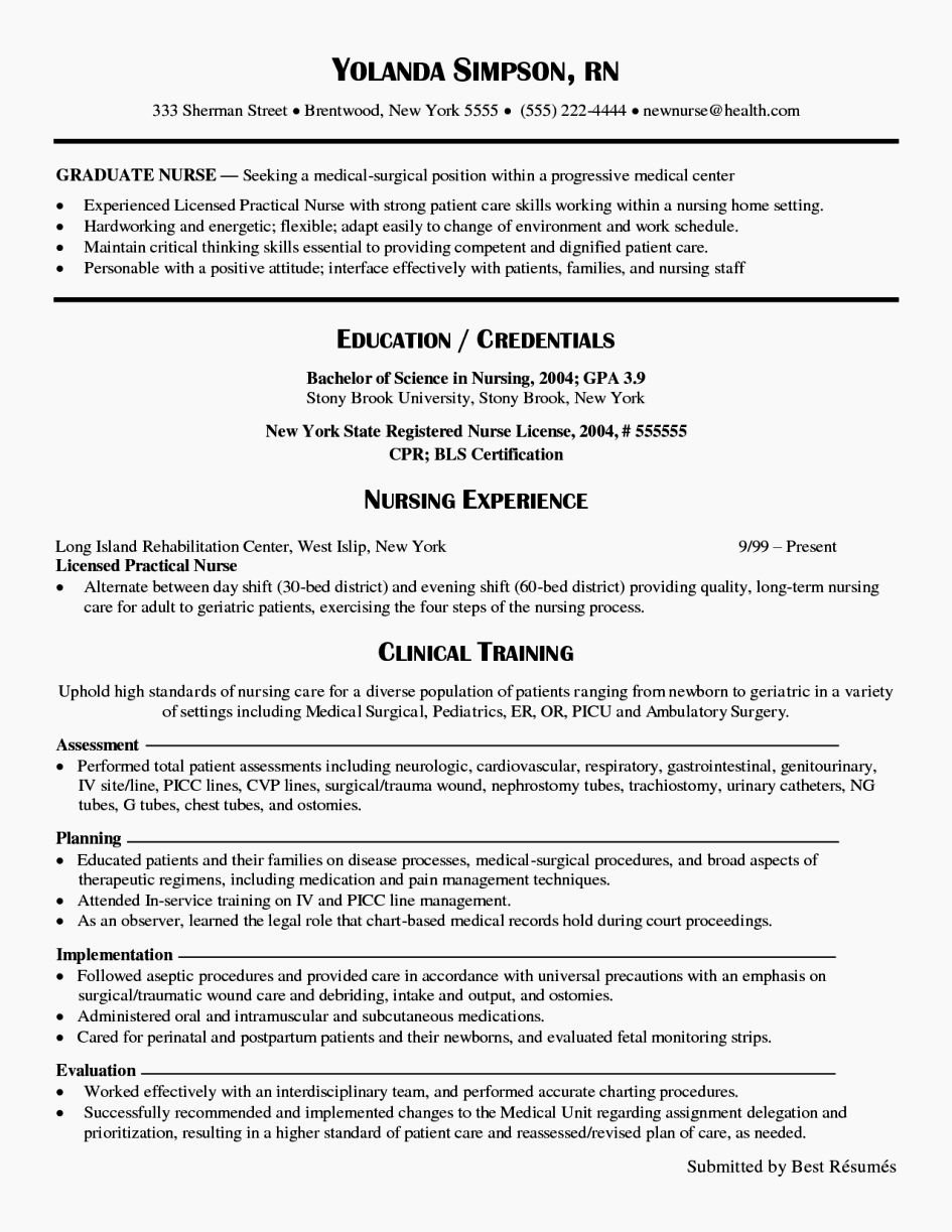 Graduate Nurse Resume Template Best Of New Grad Nurse Cv Resume Template
