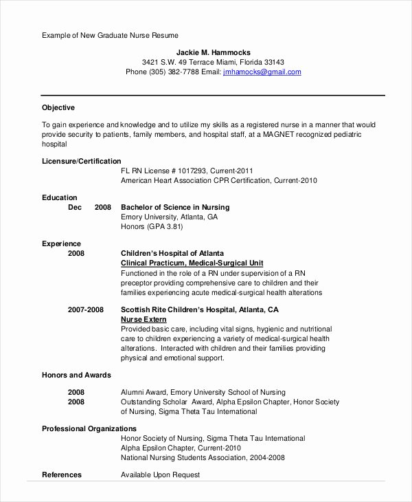 Graduate Nurse Resume Template Best Of Nursing Student Resume Example 10 Free Word Pdf
