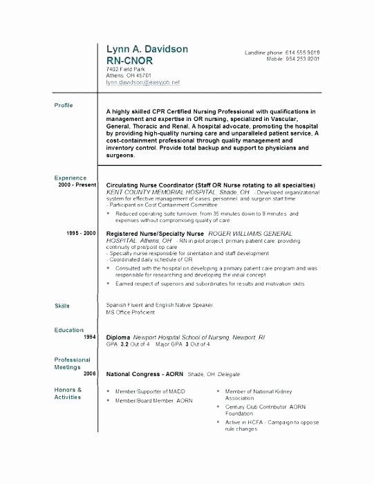 Graduate Nurse Resume Template Free Awesome Resume Template for Nursing – Creero