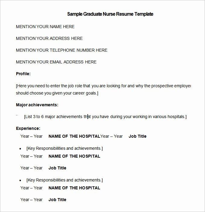 Graduate Nurse Resume Template Free Best Of Nursing Resume Template – 10 Free Samples Examples