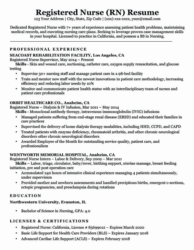 Graduate Nurse Resume Template Free Best Of Rn Resume Sample New Graduate Template Nurse Tips