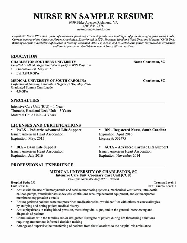 Graduate Nurse Resume Template Free Lovely New Graduate Rn Resume Best Resume Collection