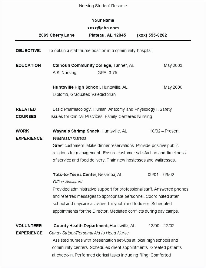 Graduate Nurse Resume Template Free New Nursing Graduate Resume Samples Registered Nurse Student