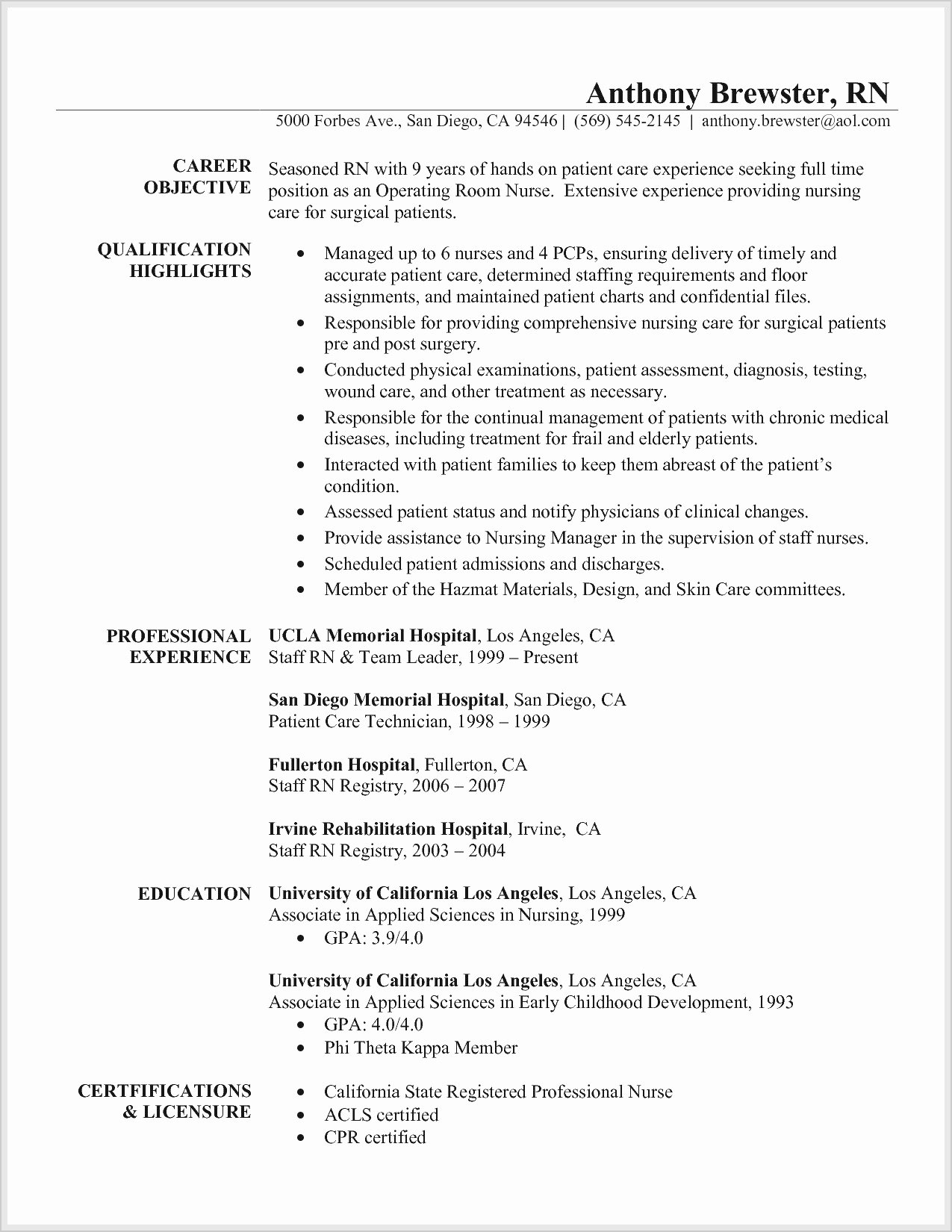 Graduate Nurse Resume Template Fresh Graduate Nurse Resume Examples