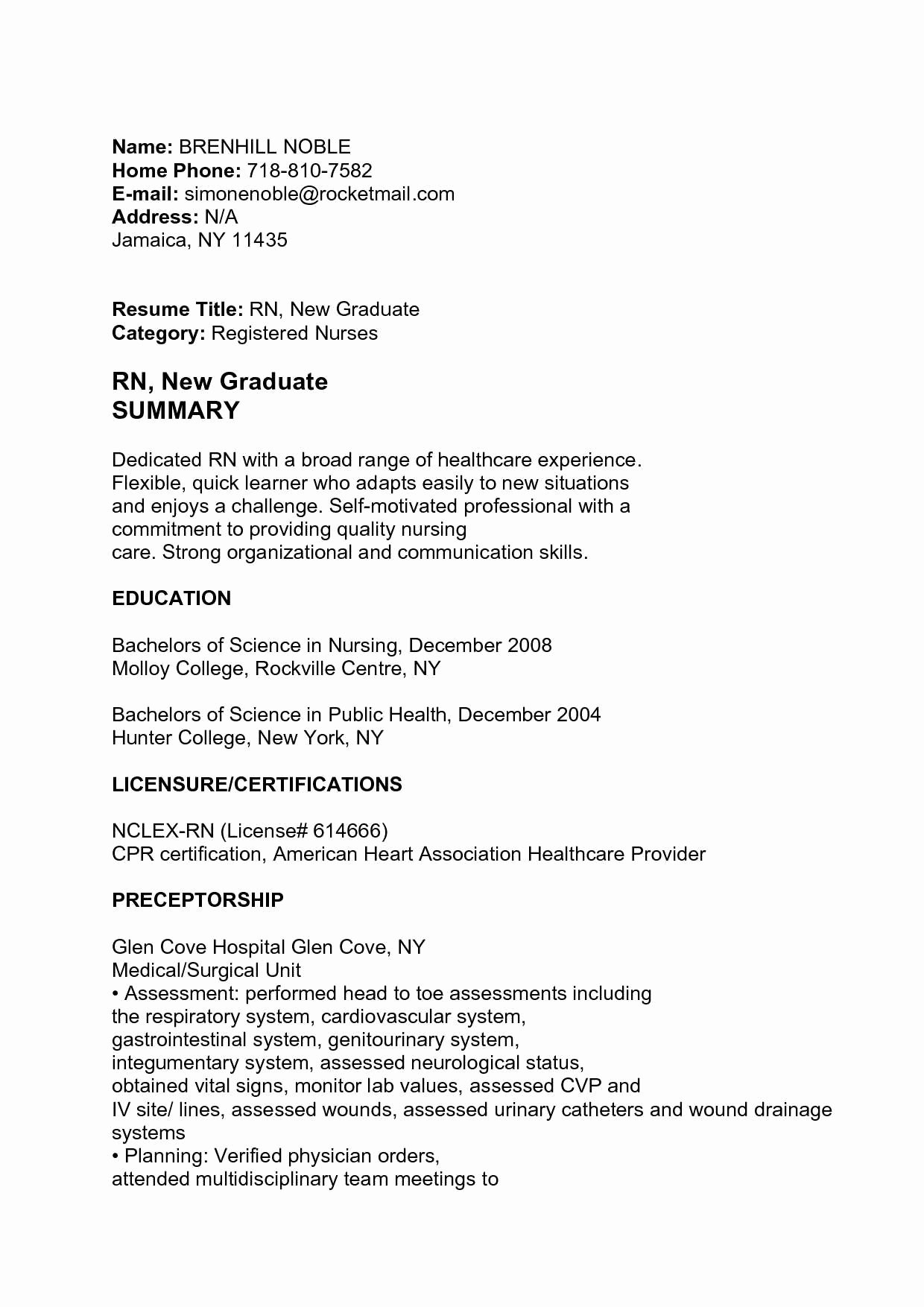 Graduate Nurse Resume Template Lovely Cath Lab Nurse Resume Talktomartyb