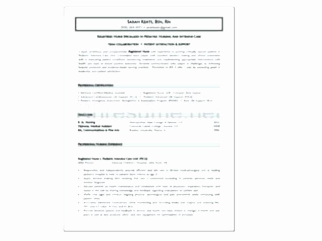 Graduate Nurse Resume Template Luxury New Graduate Nursing Resume Template – Trezvost