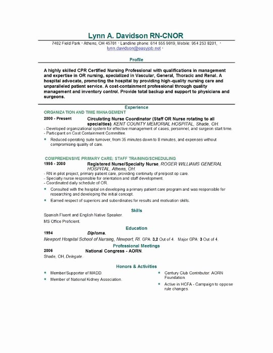 Graduate Nurse Resume Template New Graduate Nurse Resume Example