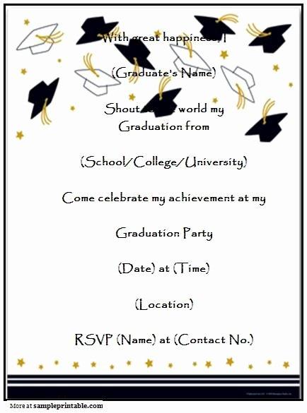 Graduation Invitation Card Template Beautiful Graduation Party Invitation Templates Free Printable