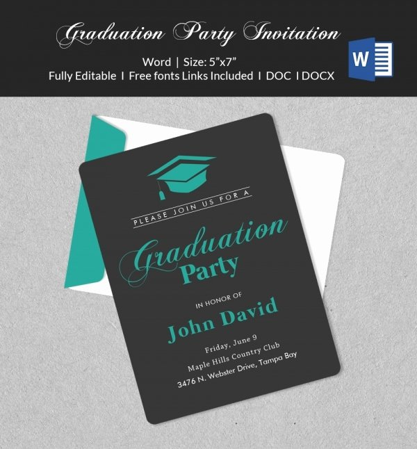 Graduation Invitation Card Template Lovely 50 Microsoft Invitation Templates Free Samples