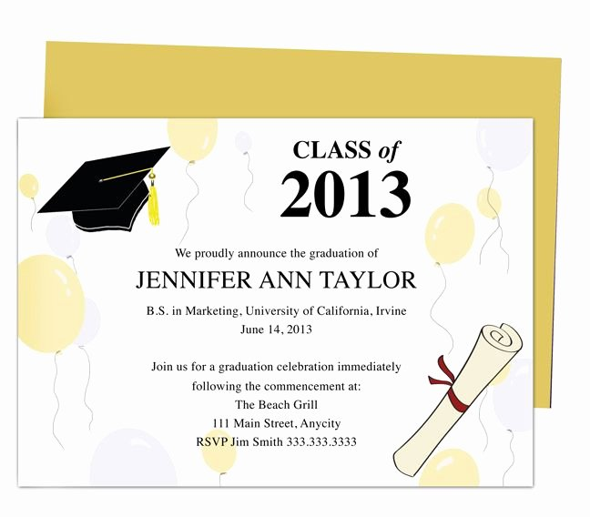 Graduation Invitation Card Template Unique Printable Diy Templates for Grad Announcements Partytime