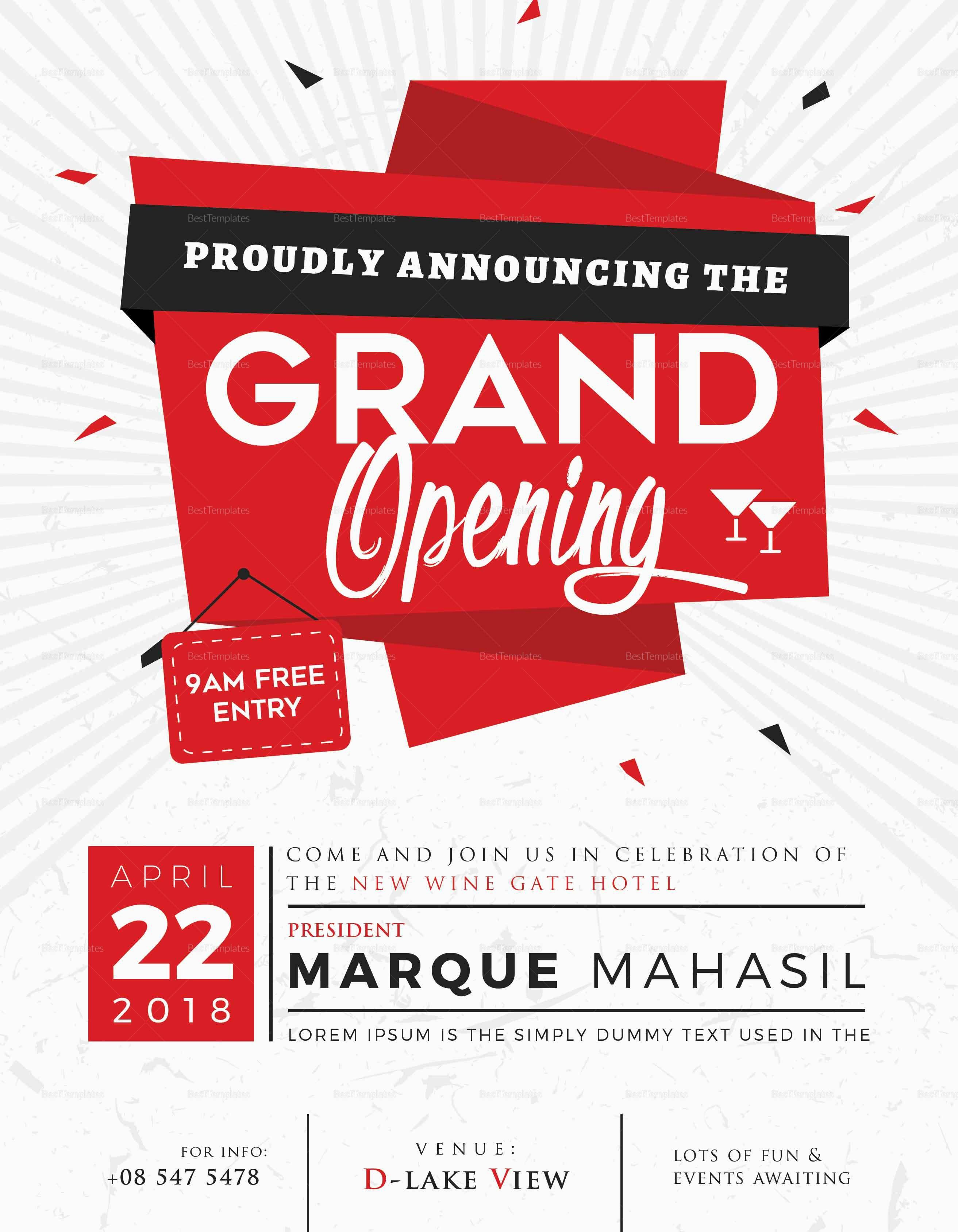 Grand Opening Flyer Template Beautiful Grand Opening Flyer Design Template In Word Psd