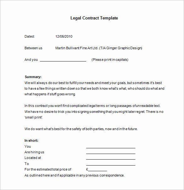 Graphic Design Contract Template Pdf Awesome 15 Legal Contract Templates Free Word Pdf Documents