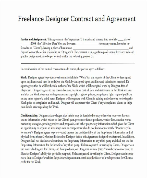 Graphic Design Contract Template Pdf Elegant 15 Freelance Contract Templates – Free Documents In Word