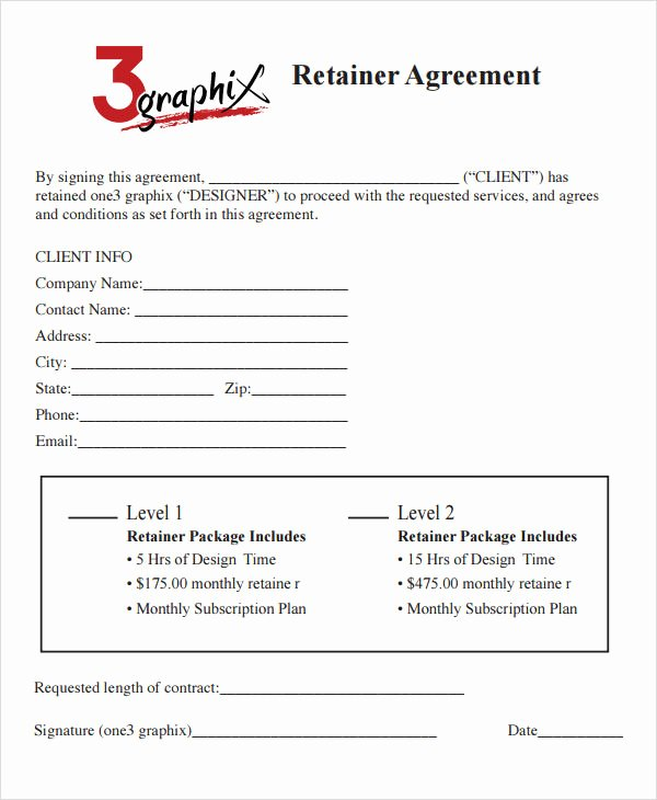 Graphic Design Contract Template Pdf Elegant Retainer Agreement 7 Free Pdf Doc Download