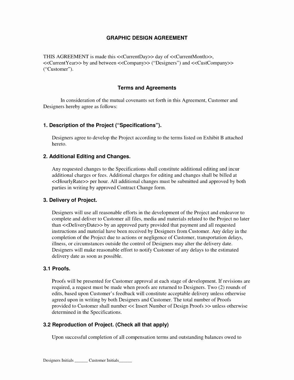 Graphic Design Contract Template Pdf Inspirational Graphic Design Contract Agreement