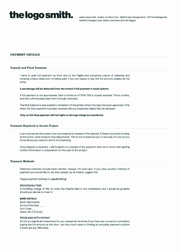 Graphic Design Contract Template Pdf Inspirational Graphic Design Contract Template Pdf Free Freelance