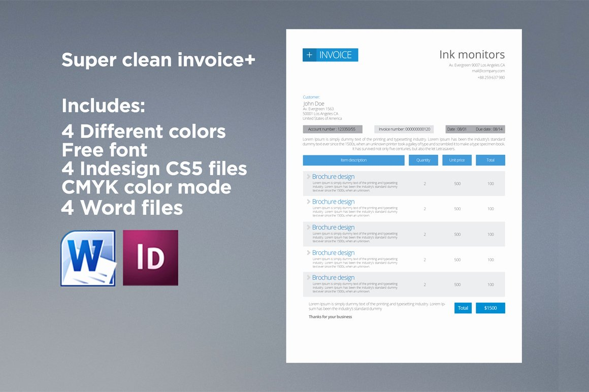 Graphic Design Invoice Template Indesign Beautiful Clean Invoice Stationery Templates On Creative Market