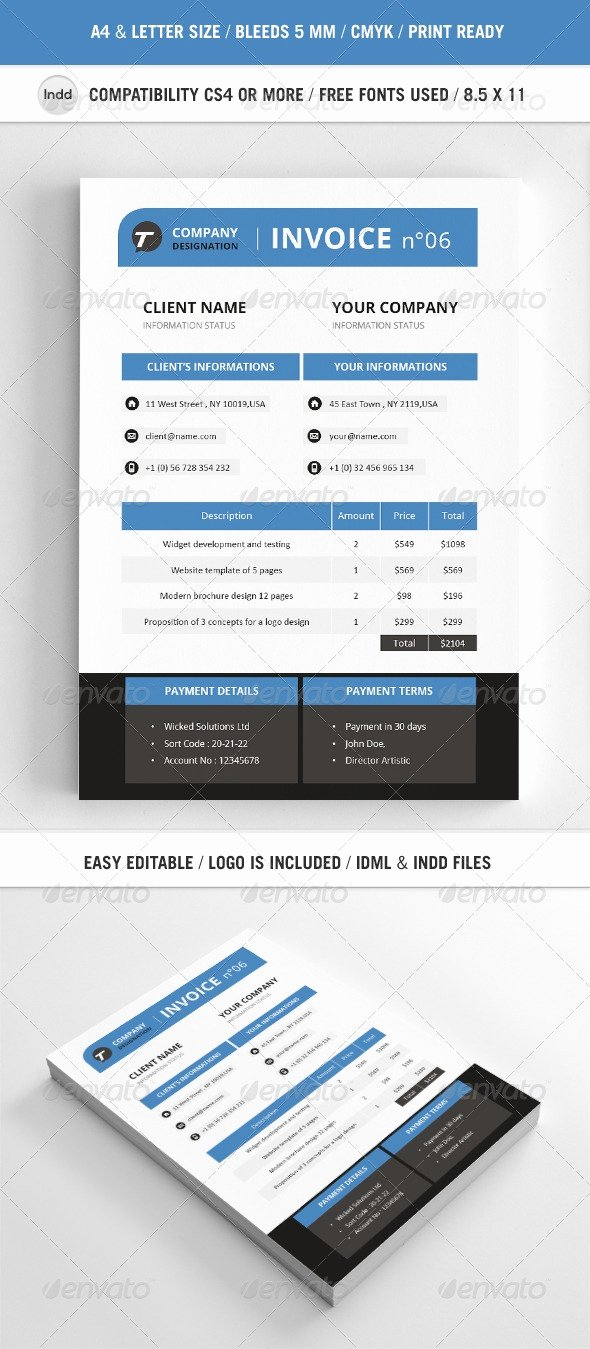 Graphic Design Invoice Template Indesign Elegant Invoice Template Indesign Invoice Template Ideas
