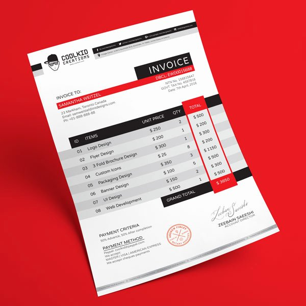 Graphic Design Invoice Template Indesign Lovely top 10 Best Free Professional Invoice Template Designs In