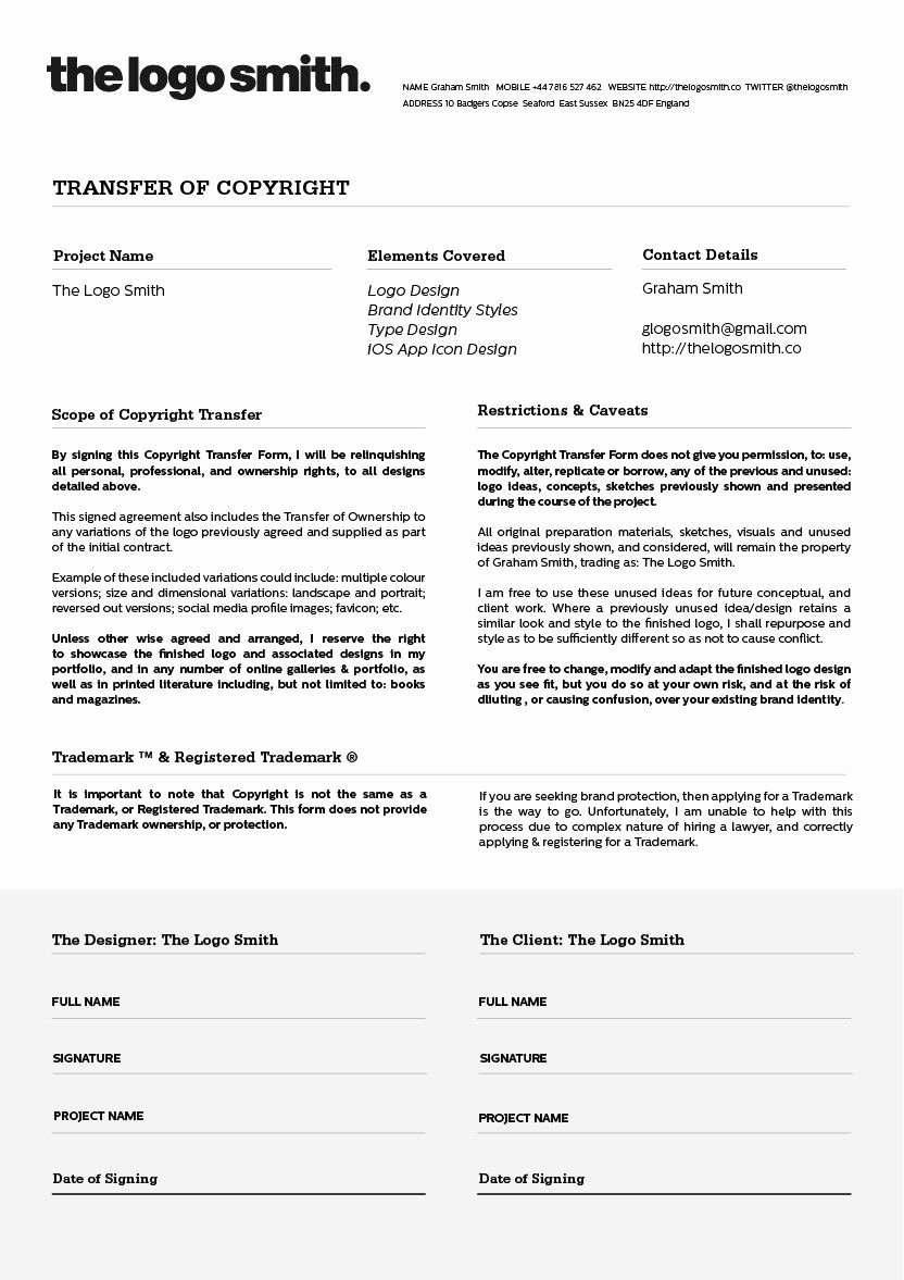 Graphic Design Proposal Template Lovely Logo Design Copyright Transfer form Template for Download