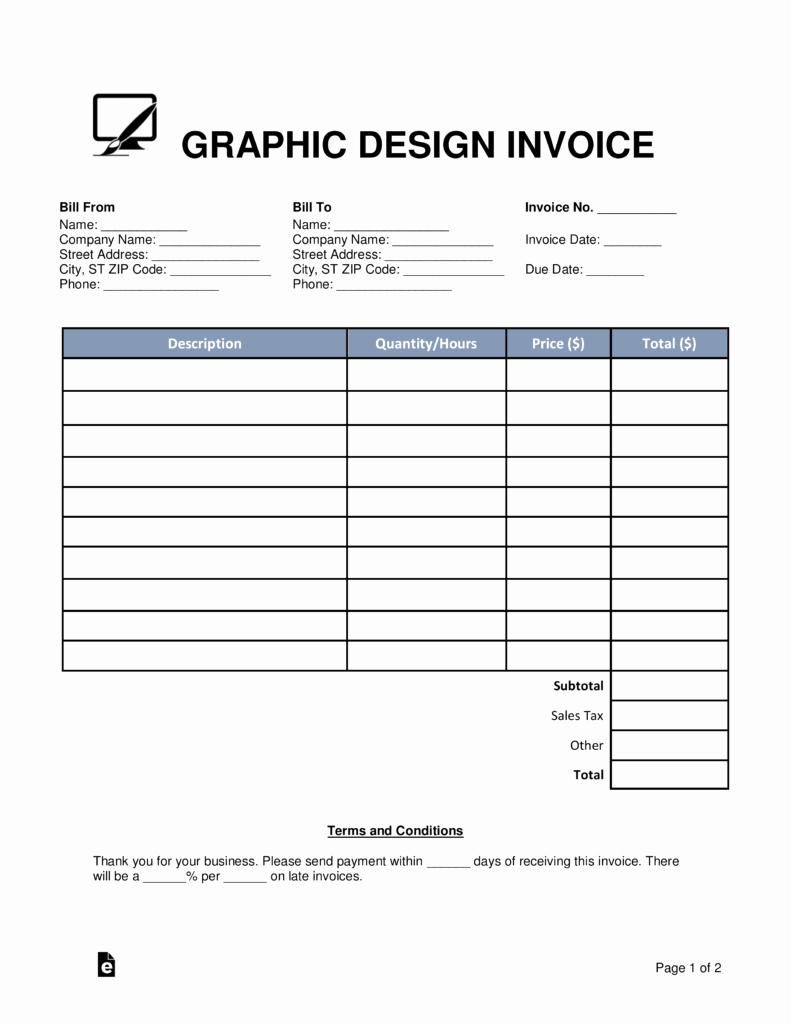 Graphic Designer Invoice Template Awesome Free Graphic Design Invoice Template Word Pdf