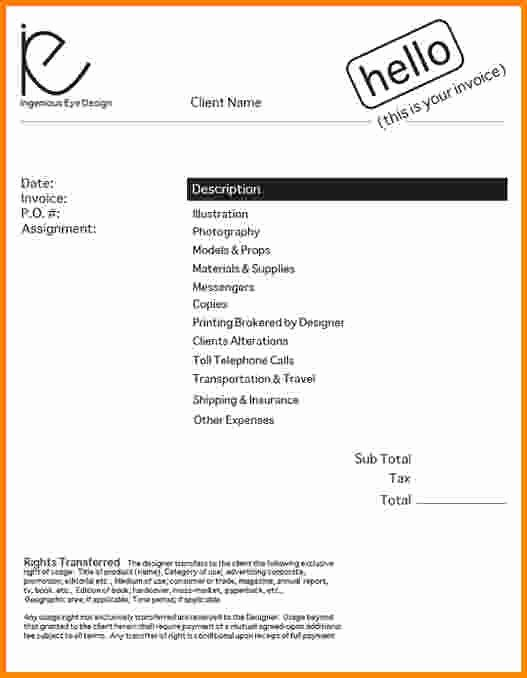Graphic Designer Invoice Template Beautiful Graphic Design Invoice Template