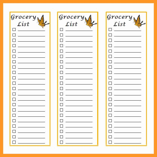 Grocery List Template Word Awesome Grocery List Template Word Document