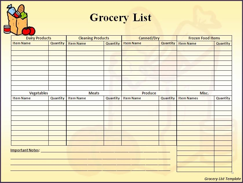 Grocery List Template Word Beautiful Free Printable Grocery List for Ms Word Document Vatansun