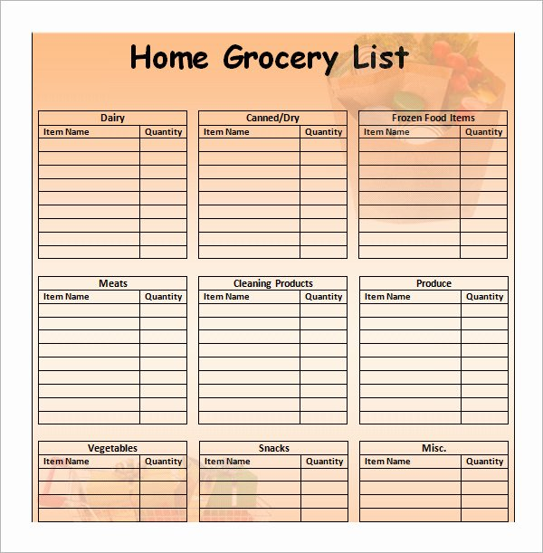 Grocery List Template Word Best Of Sample Grocery List Template 9 Free Documents In Word