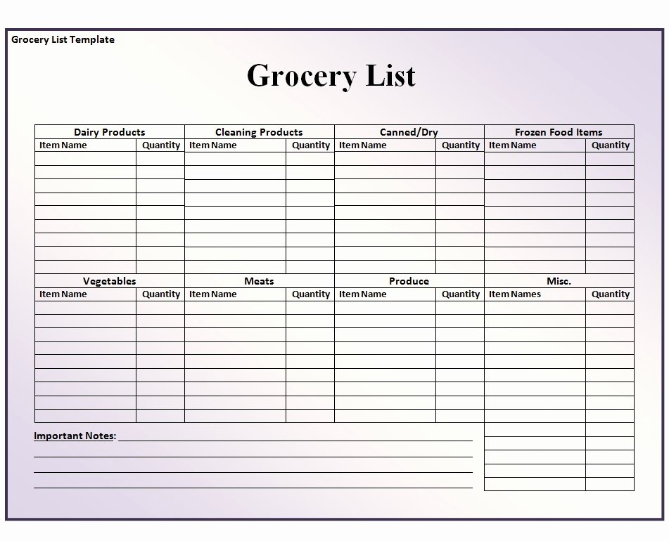 Grocery List Template Word Fresh Grocery List Template Free formats Excel Word