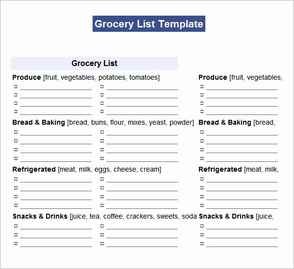 Grocery List Template Word Inspirational Shopping List Template 11 Download Documents In Pdf Word