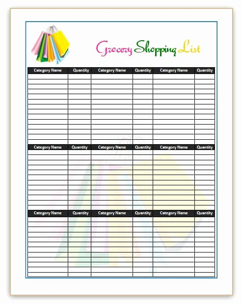 Grocery List Template Word Luxury 7 Shopping List Templates