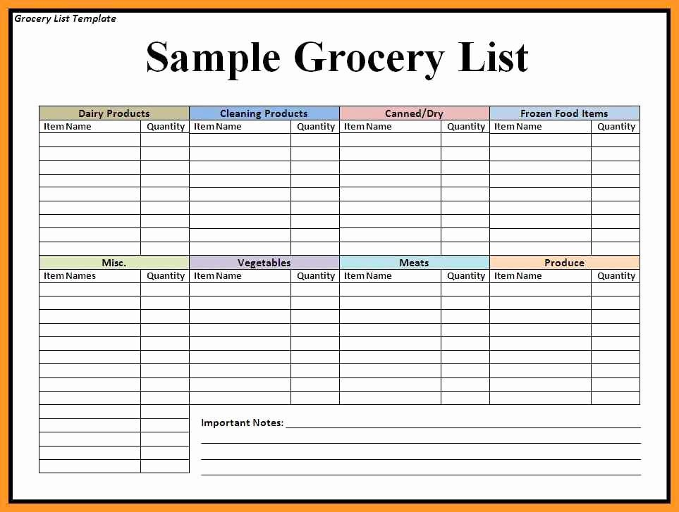 Grocery List Template Word Luxury Grocery List Template Word Document
