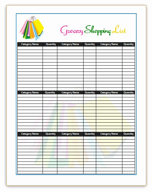 Grocery List Template Word Luxury Grocery List Template Word