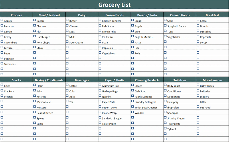 Grocery List Template Word New 7 Shopping List Templates