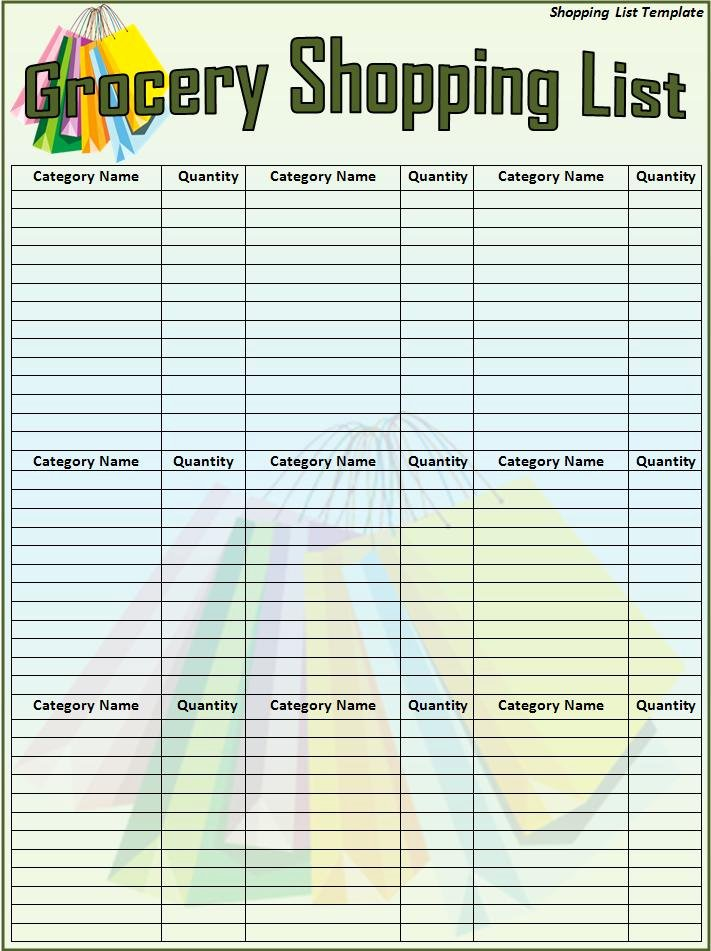 Grocery List Template Word Unique Shopping List Template