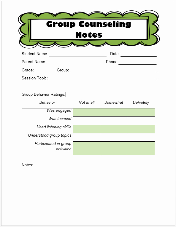 Group therapy Note Template Fresh Keeping Track Of Counseling Notes the Middle School